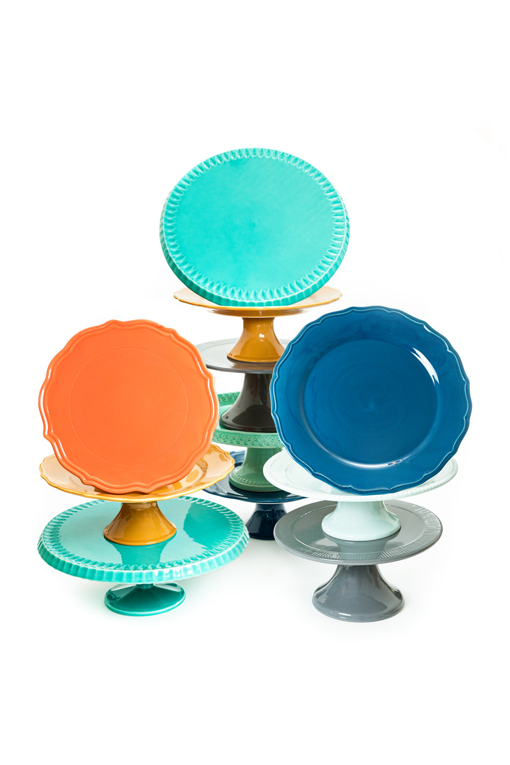 Blue orange navy turquoise and gray cake stands from Amorology Weddings in San Diego, #WeddingMinimalismProject by Cavin Elizabeth Photography