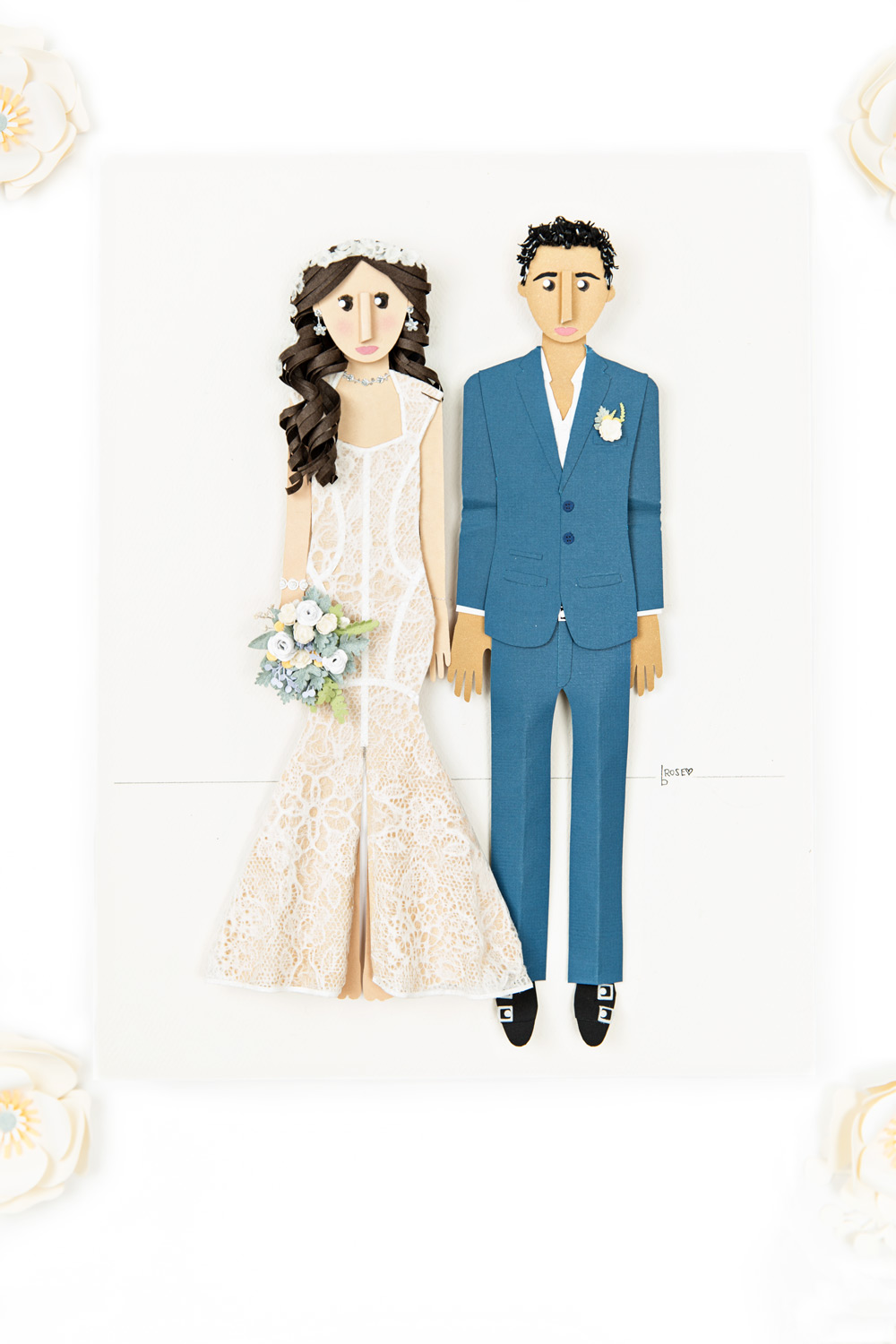 Paper doll wedding couple made by hand by Brittani Rose Paper in San Diego, #WeddingMinimalismProject by Cavin Elizabeth Photography