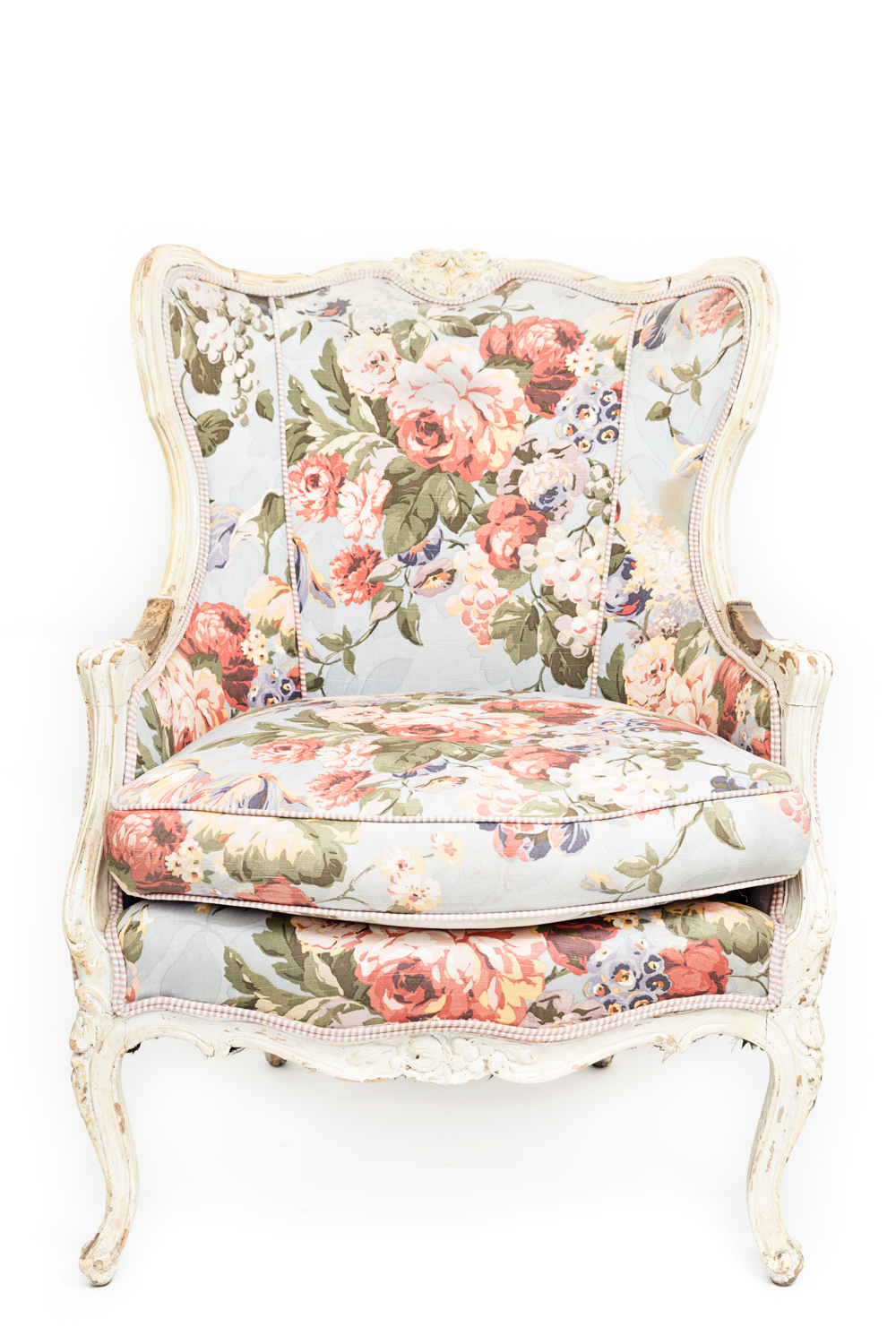 Wedding vintage rental armchair with pink and green and red floral pattern on a light blue fabric by CC Vintage Rentals in San Diego, #WeddingMinimalismProject by Cavin Elizabeth Photography
