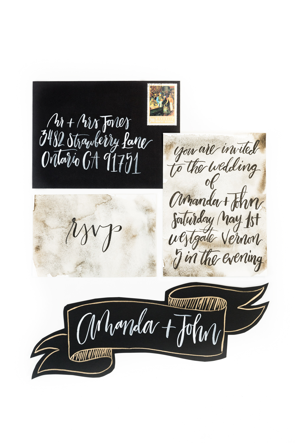 Black and gold calligraphy wedding invitation suite by Four Things Paper, #WeddingMinimalismProject by Cavin Elizabeth Photography