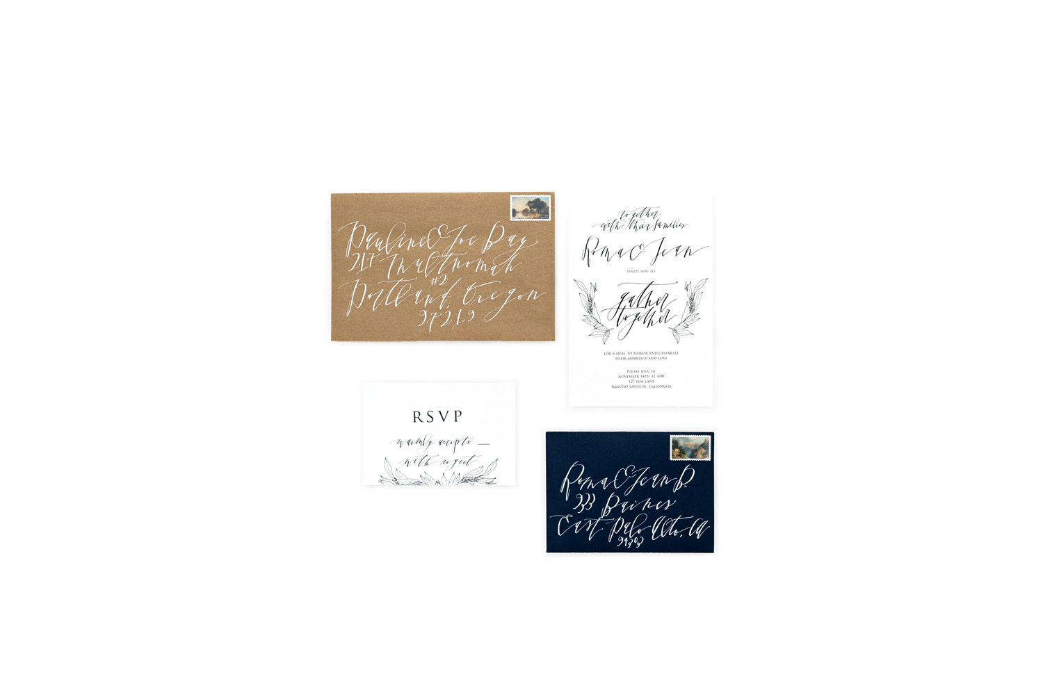 Organic white brown and navy wedding invitation suite with calligraphy by Studio Vonberg, #WeddingMinimalismProject by Cavin Elizabeth Photography