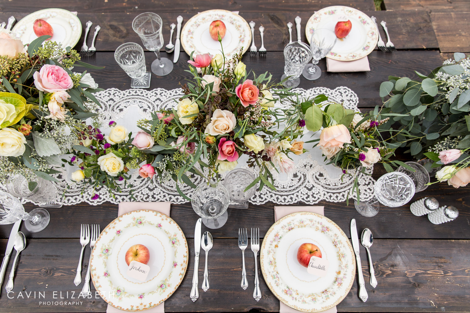 Apple Place Cards For An Outdoor Bridal Shower In San Diego With A Floral  Runner ...