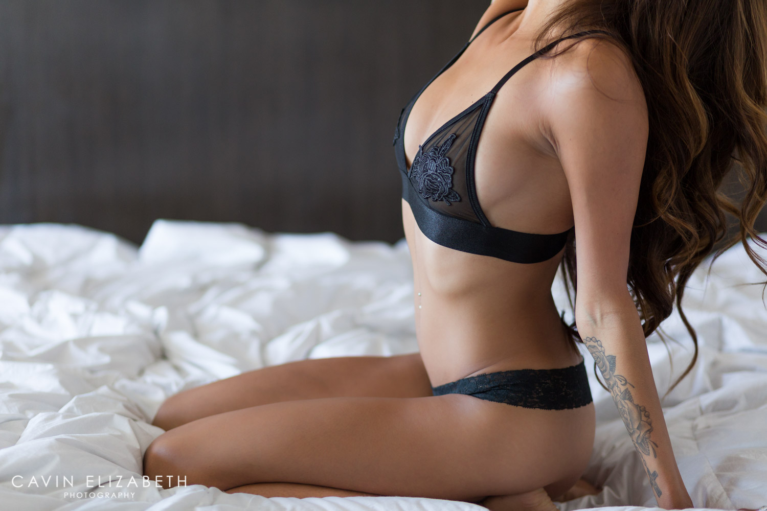 Beautiful Boudoir Photography in San Diego, sexy boudoir photo with black lingerie