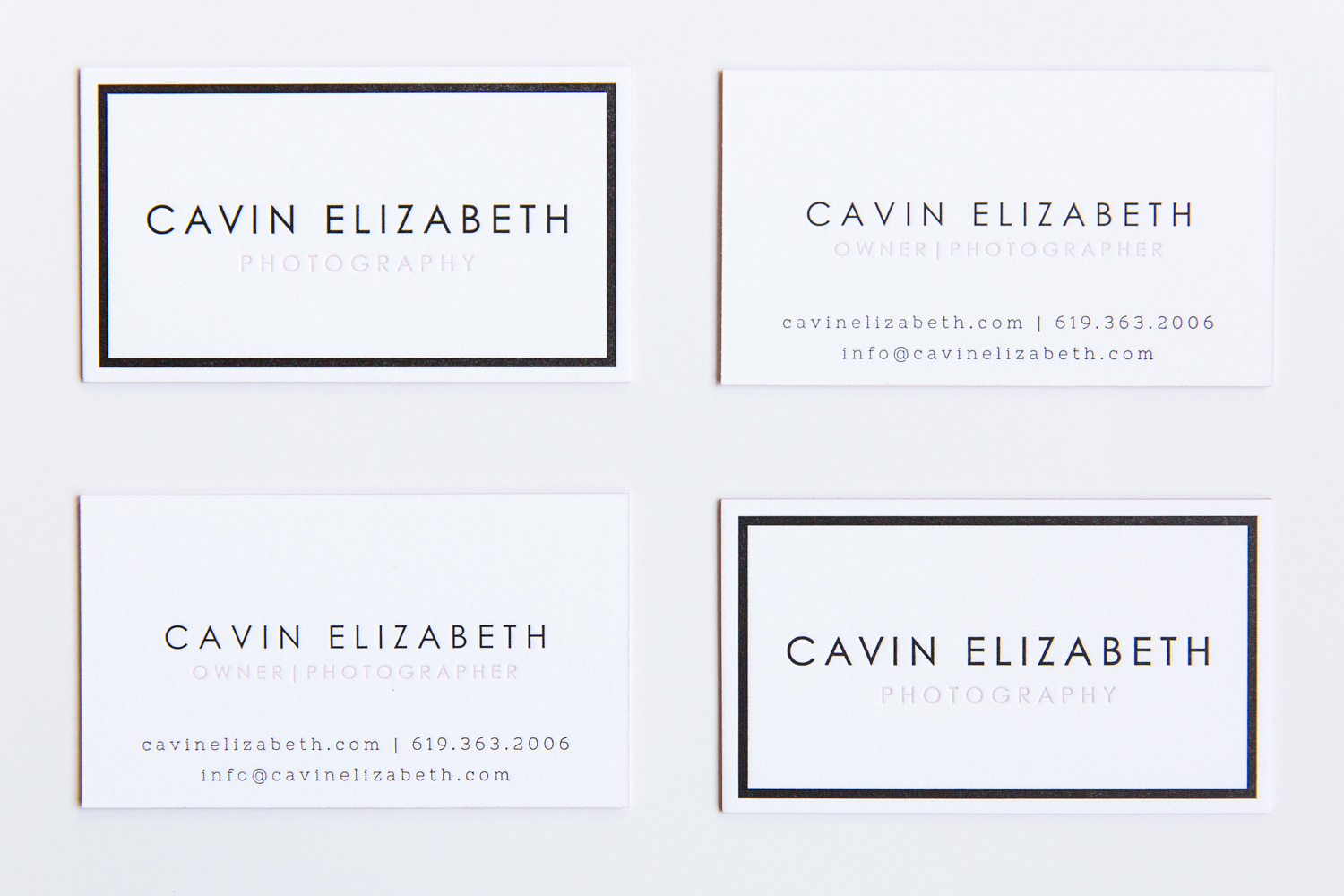 Cavin elizabeth letterpress business cards clove st press gorgeous chic and feminine white letterpress business cards with a black inset border and black and reheart Gallery