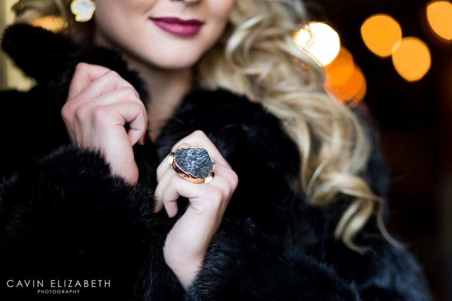 Black druzy ring in gold by Love Tatum