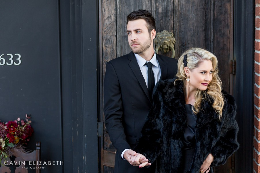 Urban downtown San Diego wedding, non-traditional luxury bride and groom wearing a black wedding gown