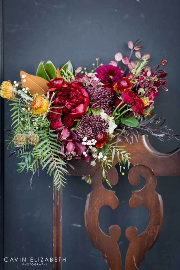 Bridal red purple orange green and blush bouquet by Blooms by Breesa