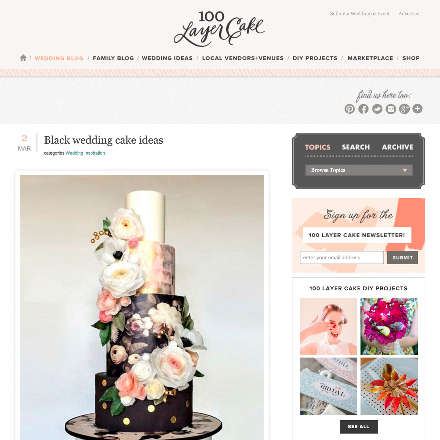 Black cake ideas on 100 layer cake with Hey There Cupcake and Cavin Elizabeth Photography