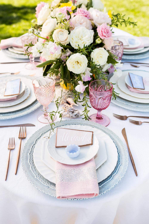 Rose quartz and serenity Casa De Perrin dishware plates, modern playful pink and blue wedding tabletop design, Inn at Rancho Santa Fe wedding