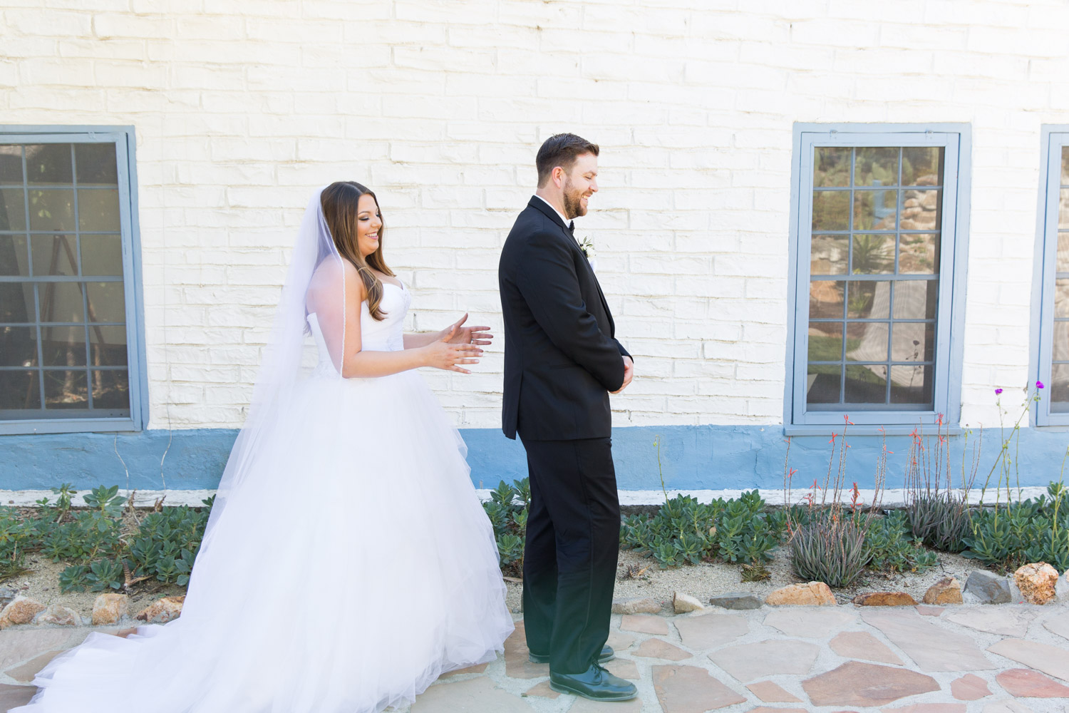 Wedding first look before the ceremony at Leo Carrillo Ranch