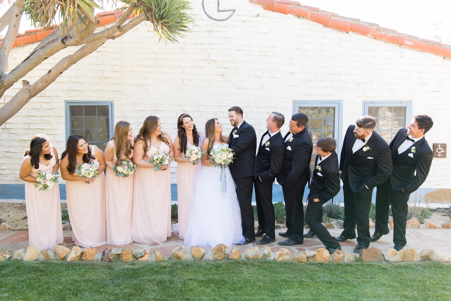 Bridal party photos at the Leo Carrillo Ranch, large bridal parties in San Diego