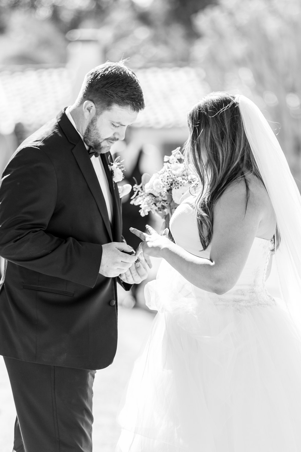 Beautiful candid wedding photo of a couple in Carlsbad