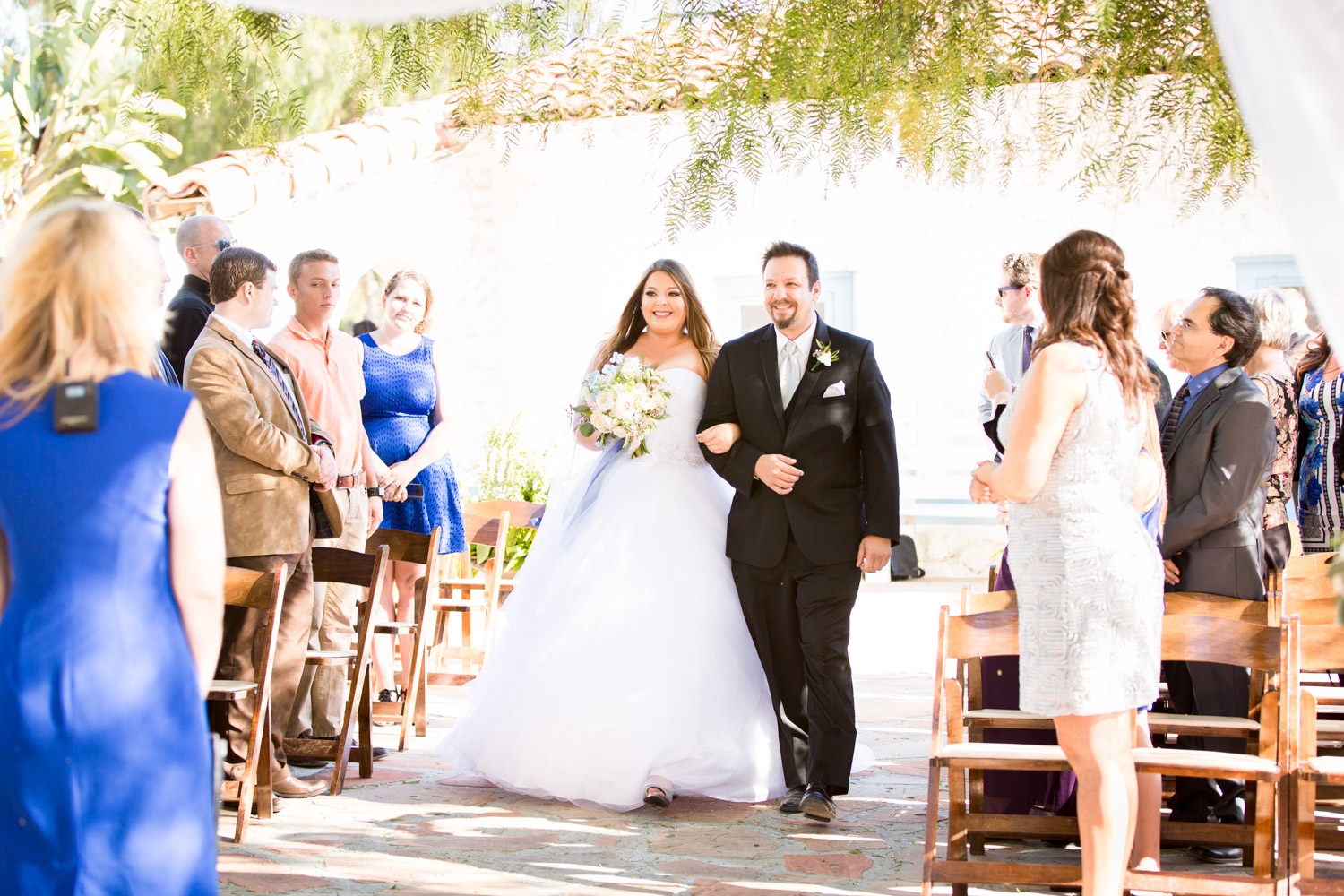 Leo Carrillo ceremony photo of father walikng daughter down the aisle