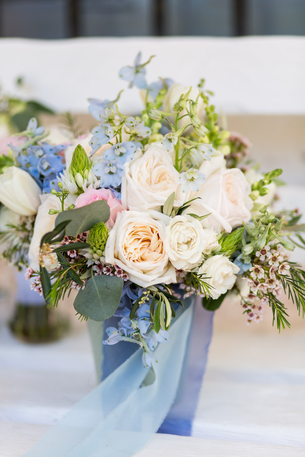 Blush blue and green bridal bouquet