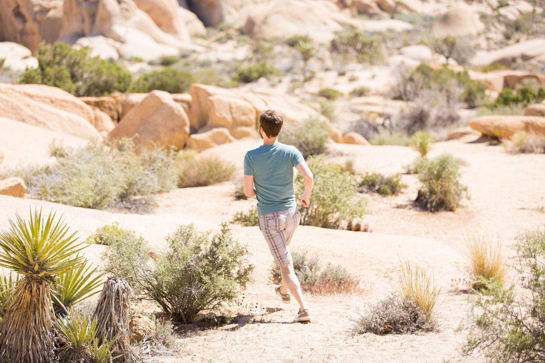 Man running and hiking in Joshua Tree