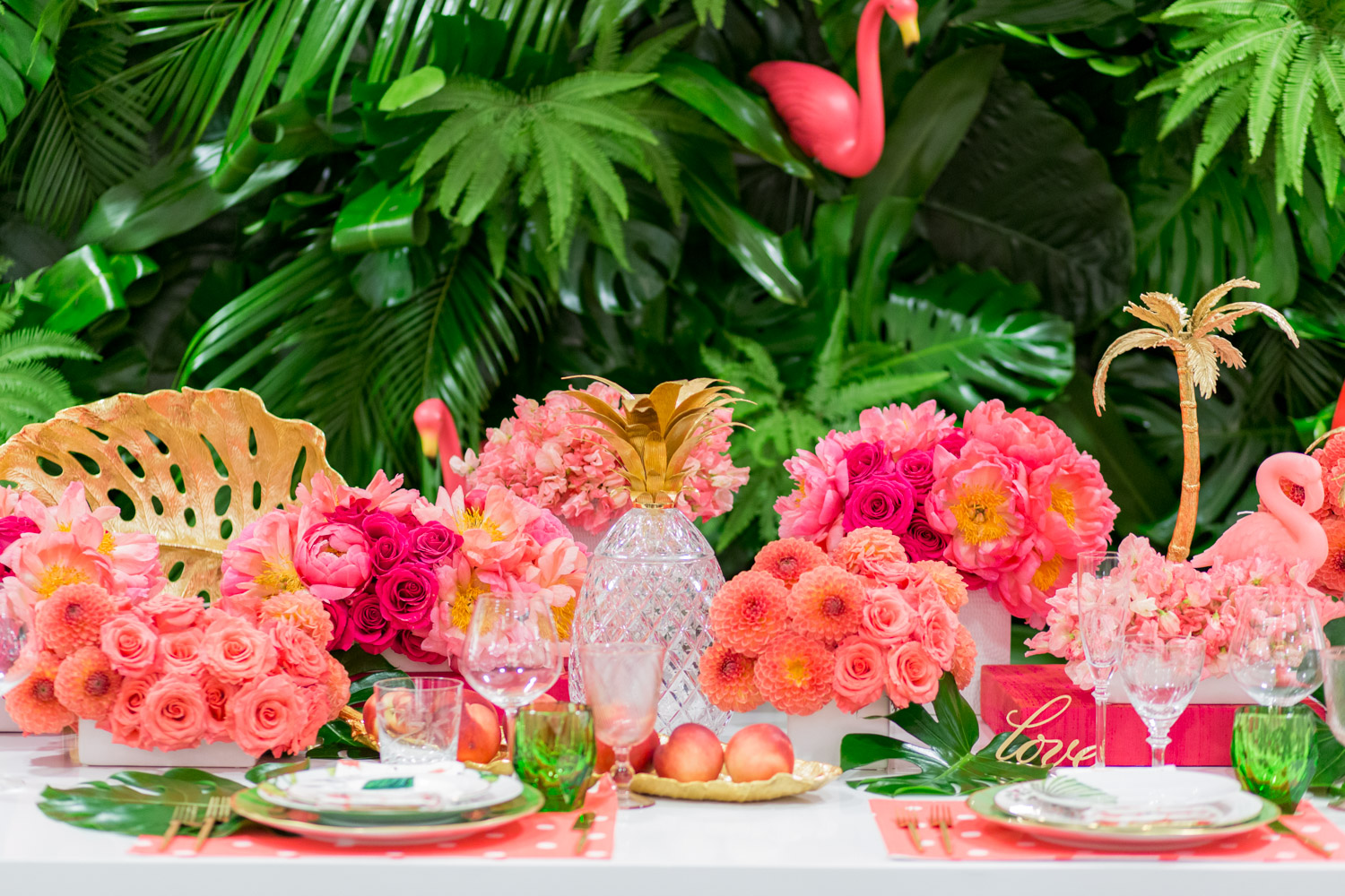 Luxury Flamingo Themed Tablescape Details Details Bloom Box