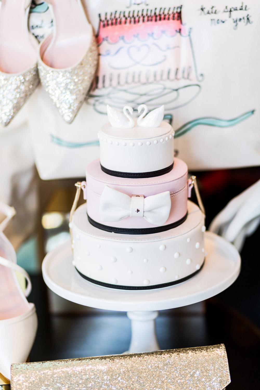 Kate Spade wedding cake swan handbag purse, pink and white and black Kate Spade purse shaped like a three tiered wedding cake, Cavin Elizabeth Photography