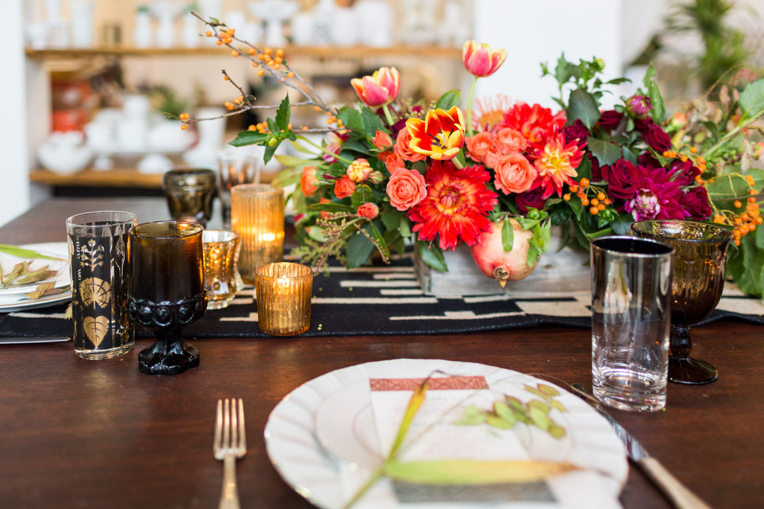 ... Isari Floral Workshop For A Fall Tablescape With Reds Greens Yellows  And Blacks, Cavin Elizabeth
