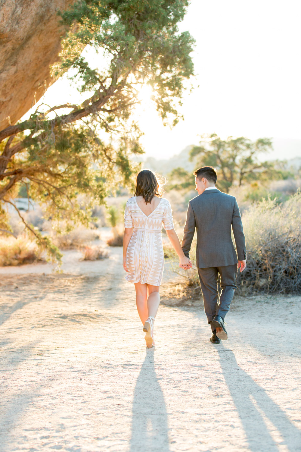 Formal engagement photos in Joshua Tree, Suit and dress ideas for engagement photos, Cavin Elizabeth Photography