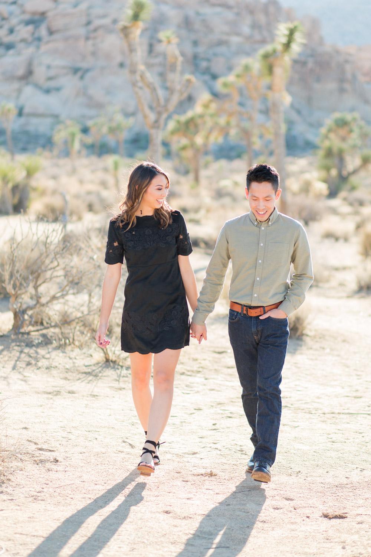 Couple walking around at Joshua Tree, Cavin Elizabeth Photography