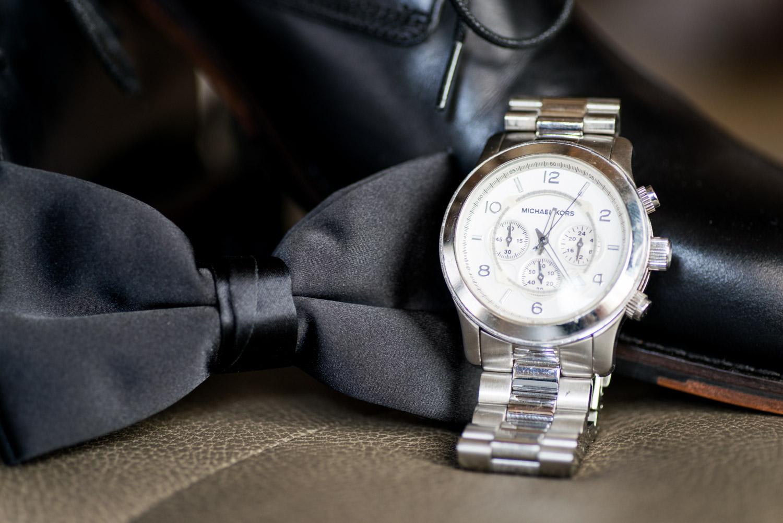 Men's Michael Kors watch and black bowtie, Cavin Elizabeth Photography
