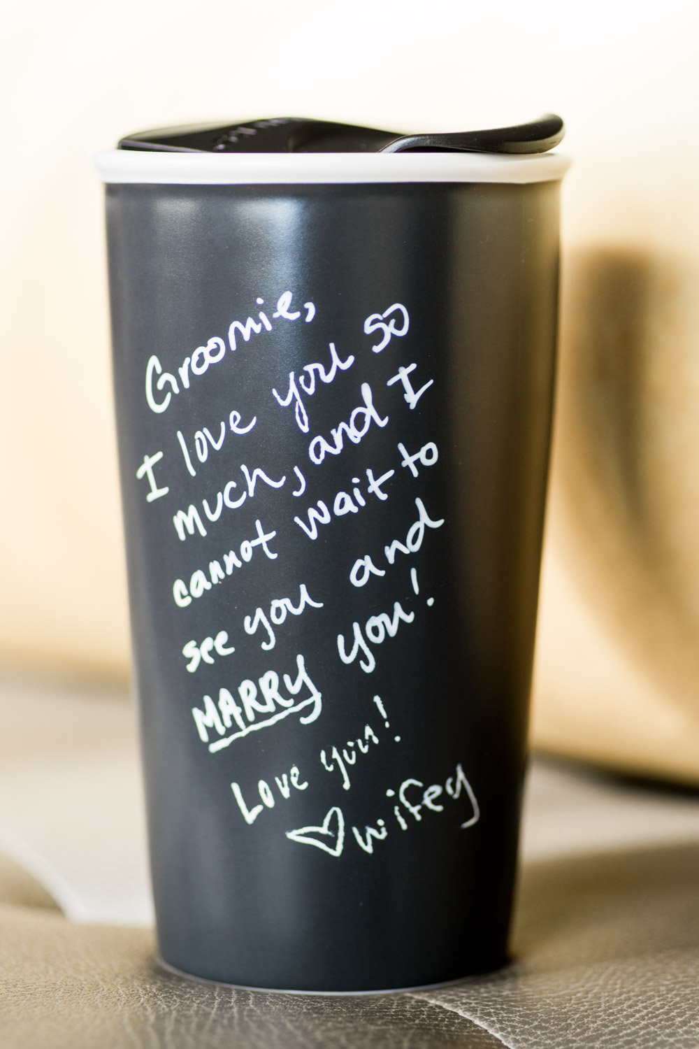 Note to the groom from the bride on his coffee cup, Cavin Elizabeth Photography