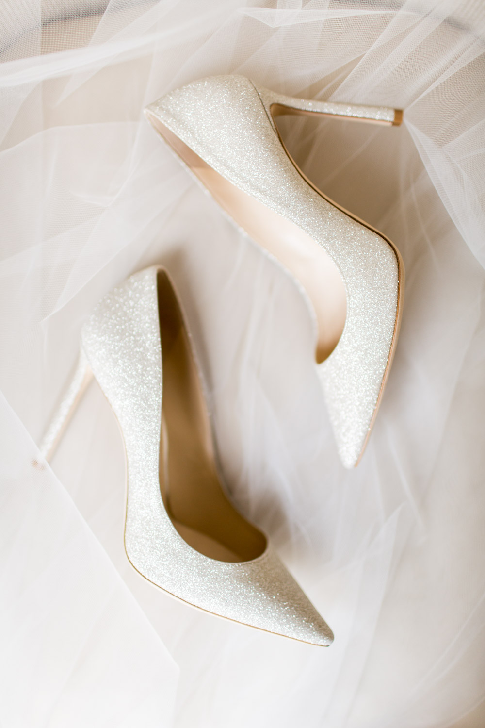 Jimmy Choo pointed toe pump bridal shoes in champagne beige, Cavin Elizabeth Photography