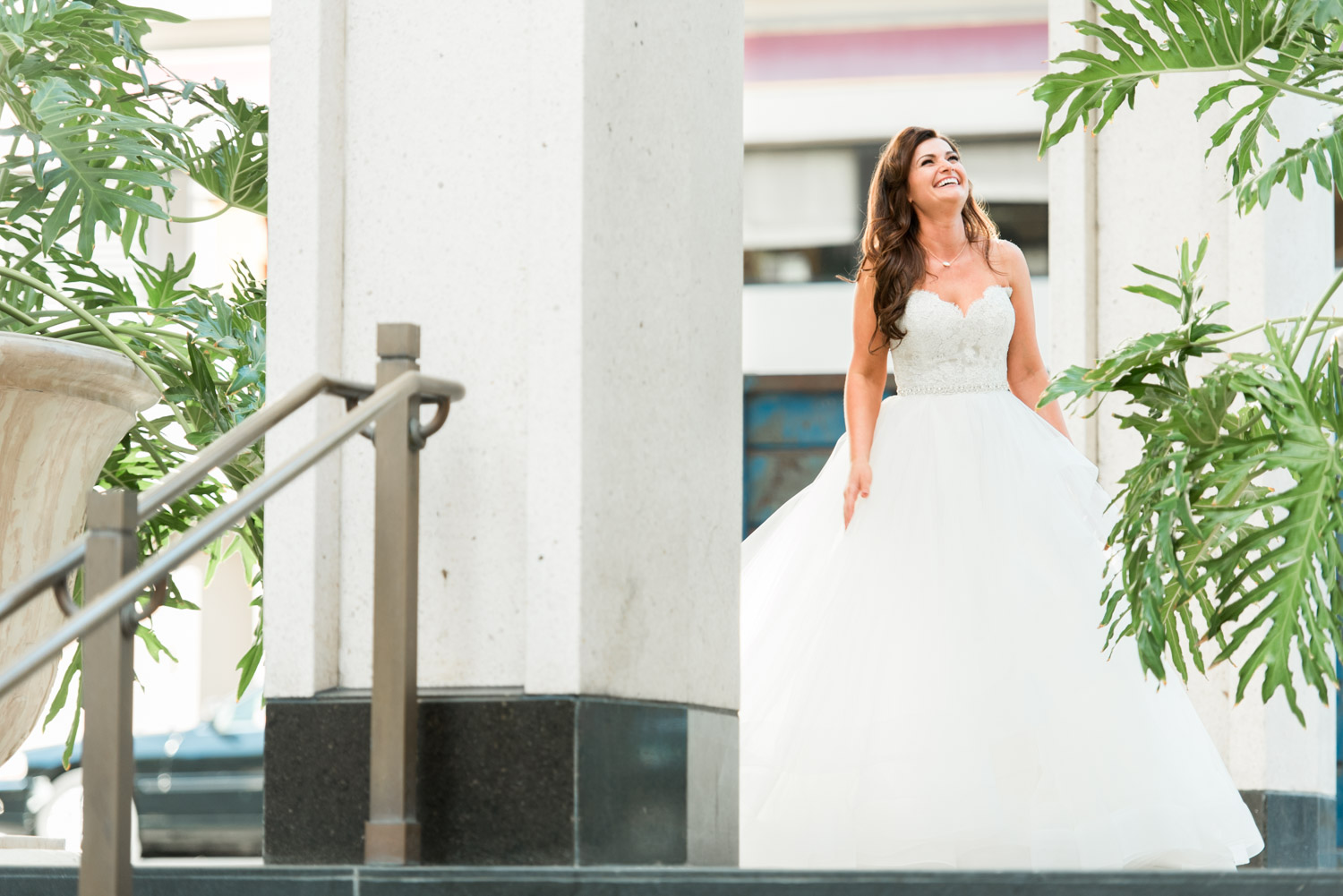 Bride in Lazaro gown right before the first look at the US Grant, Cavin Elizabeth Photography