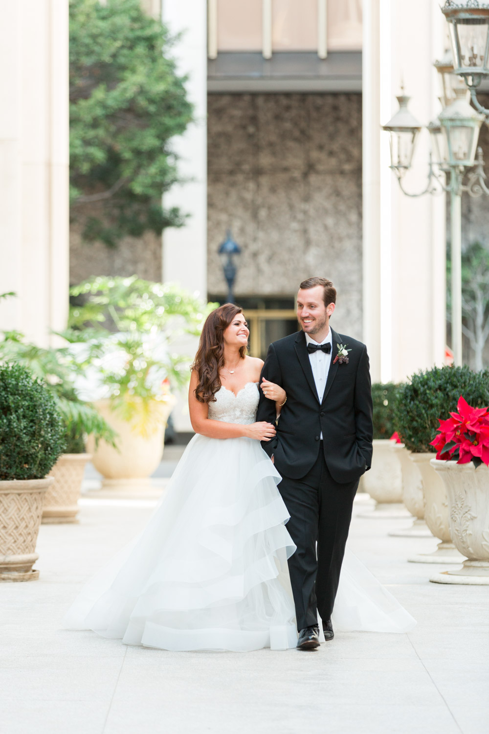 Chic luxury bride and groom walking downtown in San Diego, Cavin Elizabeth Photography