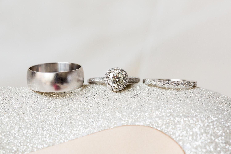 Wedding rings shot on top of Jimmy Choo shoes, Cavin Elizabeth Photography