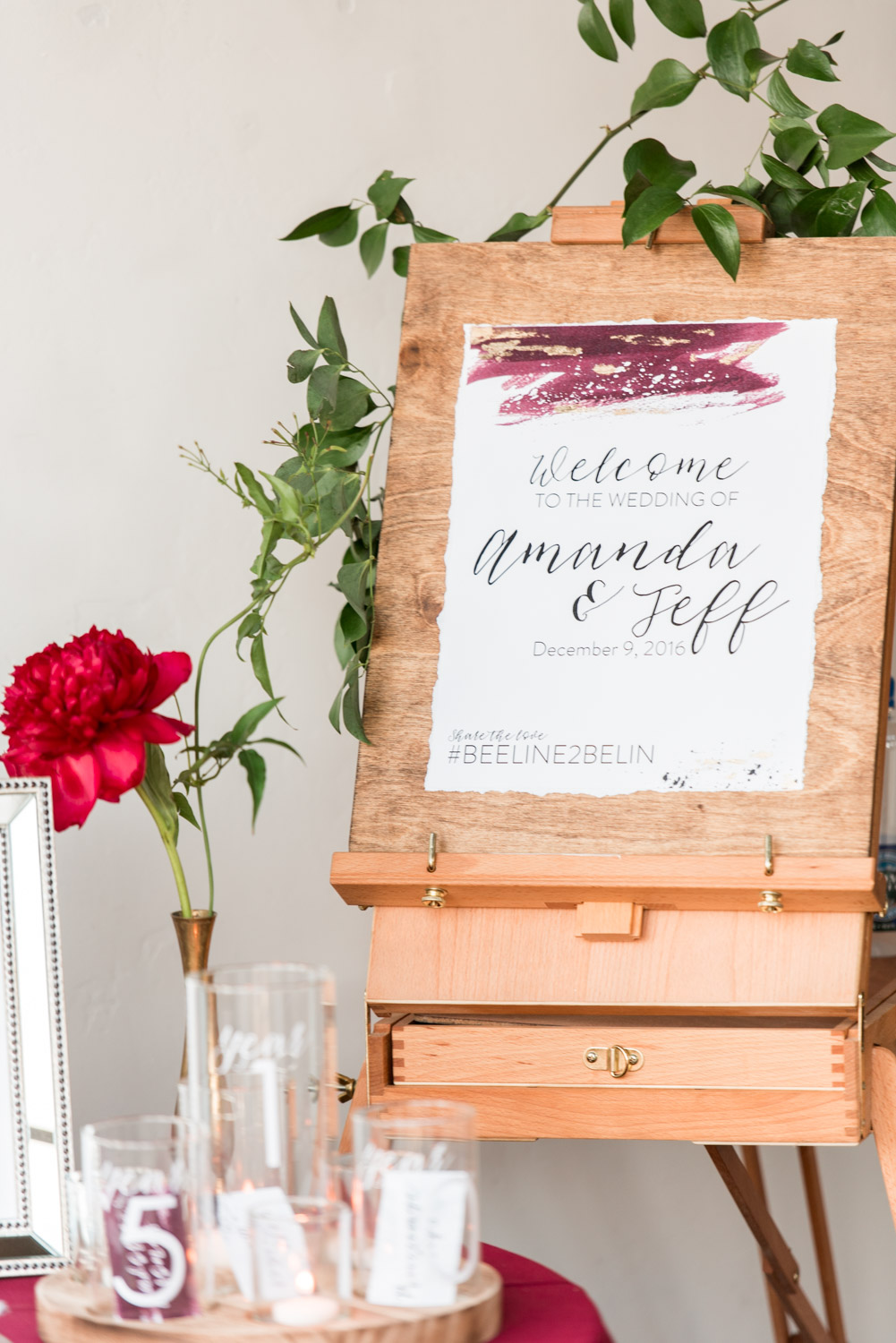 Welcome wedding sign with cool watercolor by Peanut PressThe North Chapel wedding ceremony in San DiegoBride and groom luxury wedding portrait in San Diego at a BRICK wedding, Cavin Elizabeth Photography