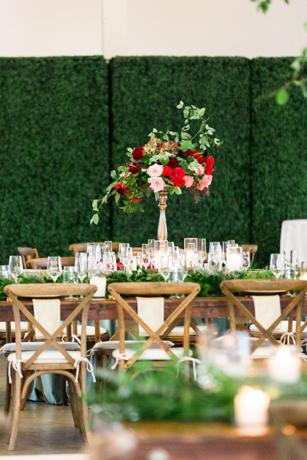 Red pink green marsala tall wedding centerpiece by Bloom Babes at BRICK in San Diego, Cavin ELizabeth Photography