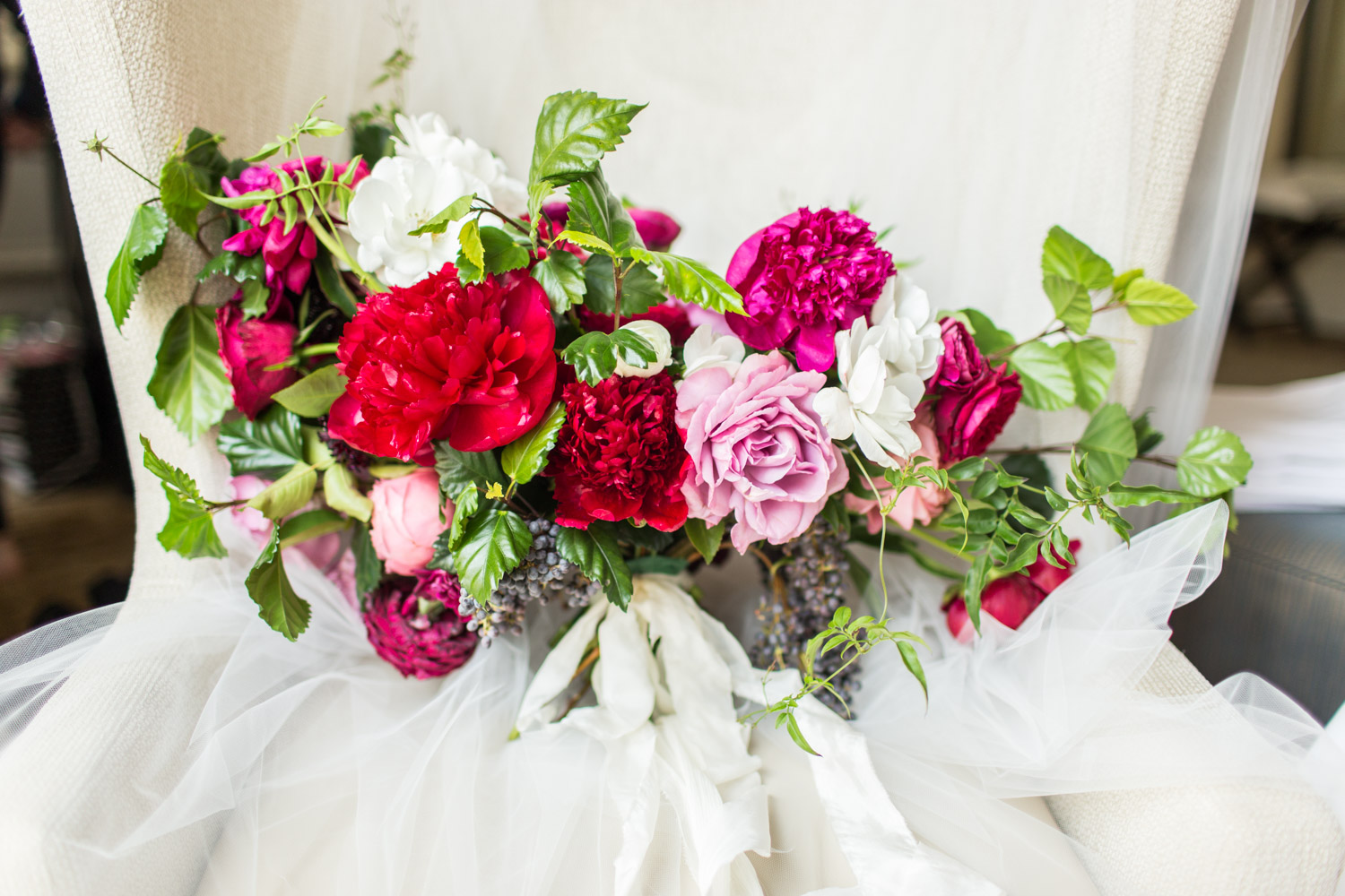Bloom Babes large bridal bouquet with pink red green and white, Cavin Elizabeth Photography