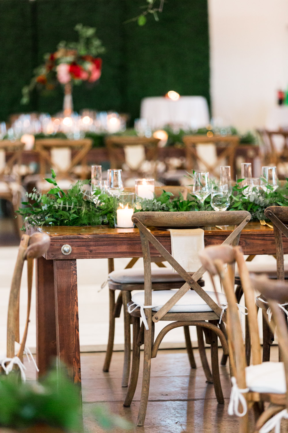 Head wedding reception table, BRICK wedding reception with winter green blue and red flowers by Bloom BabesThe North Chapel wedding ceremony in San DiegoBride and groom luxury wedding portrait in San Diego at a BRICK wedding, Cavin Elizabeth Photography