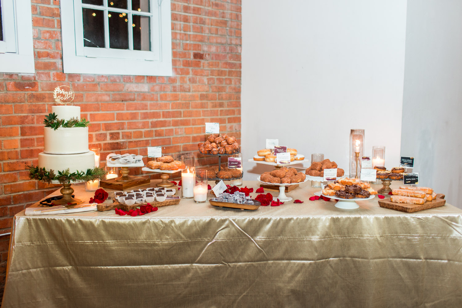 Luxury wedding dessert display with three tier white wedding cake and custom acrylic wedding cake topperRed pink green marsala tall wedding centerpiece by Bloom Babes at BRICK in San Diego, Cavin ELizabeth Photography