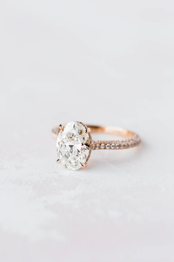 Jean Dousset Chelsea oval diamond engagement ring with rose gold setting, Cavin Elizabeth Photography