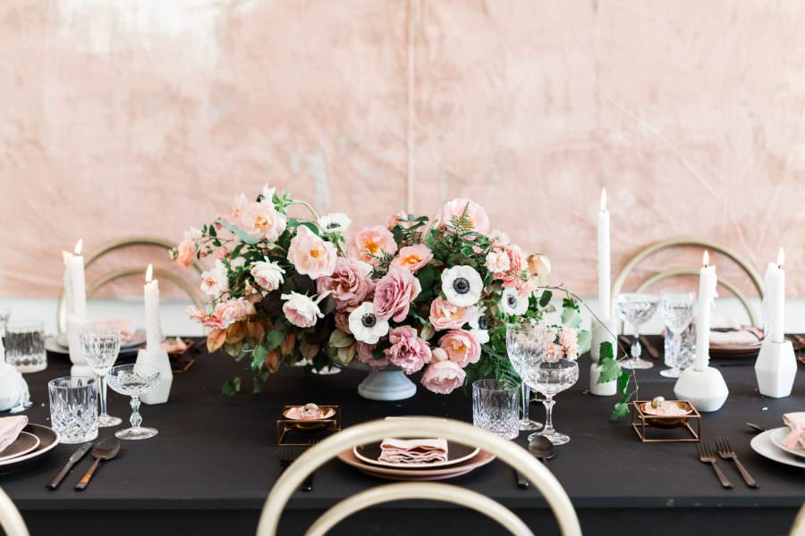 Black pink and gold wedding inspiration or rehearsal dinner inspiration, Cavin Elizabeth and Amorology