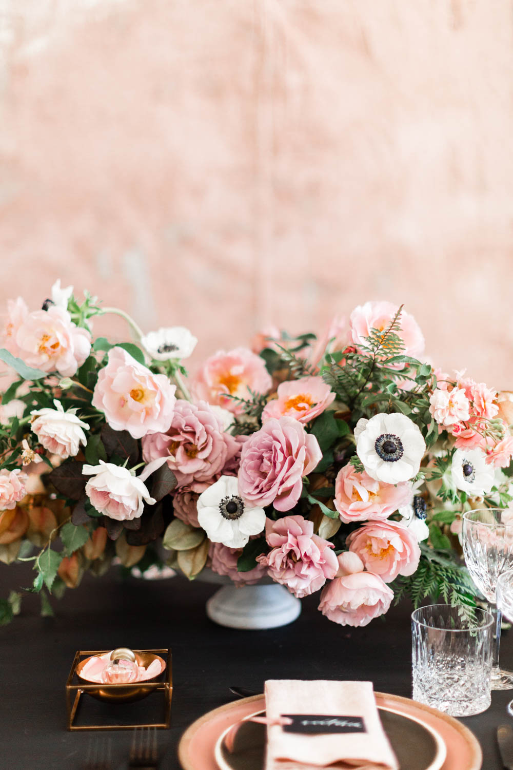 Pink green white bold centerpiece, Black pink and gold wedding inspiration or rehearsal dinner inspiration, Cavin Elizabeth and Amorology