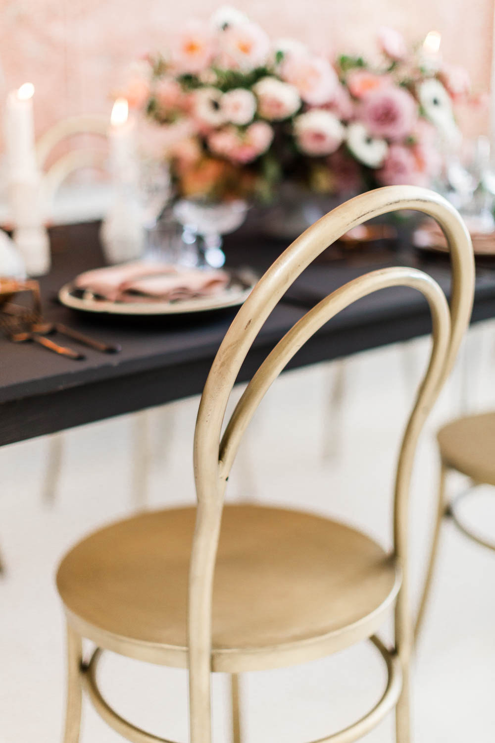 Gold chairs, Black pink and gold wedding inspiration or rehearsal dinner inspiration, Cavin Elizabeth and Amorology