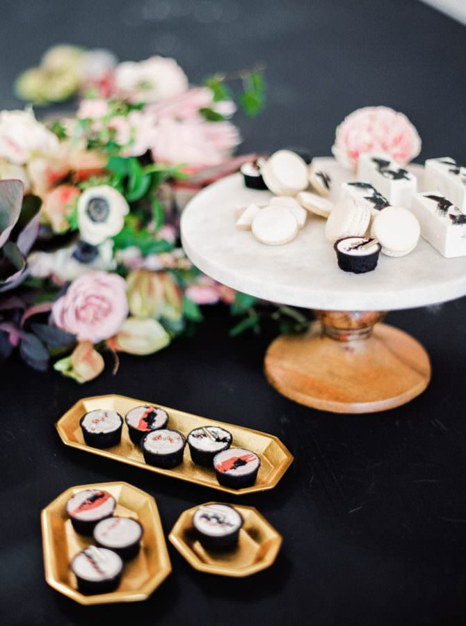 San Diego wedding film photographer, Hey There Cupcake small wedding desserts on gold and white marble platters, Cavin Elizabeth Photography