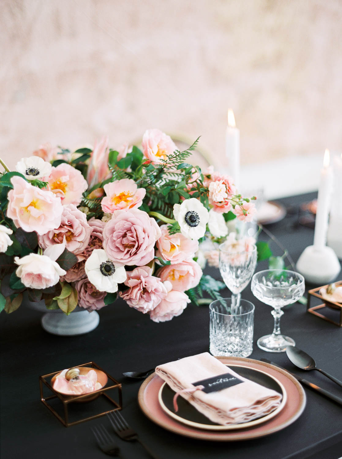 San Diego film wedding photo, Black pink and gold wedding inspiration or rehearsal dinner inspiration, Cavin Elizabeth and Amorology