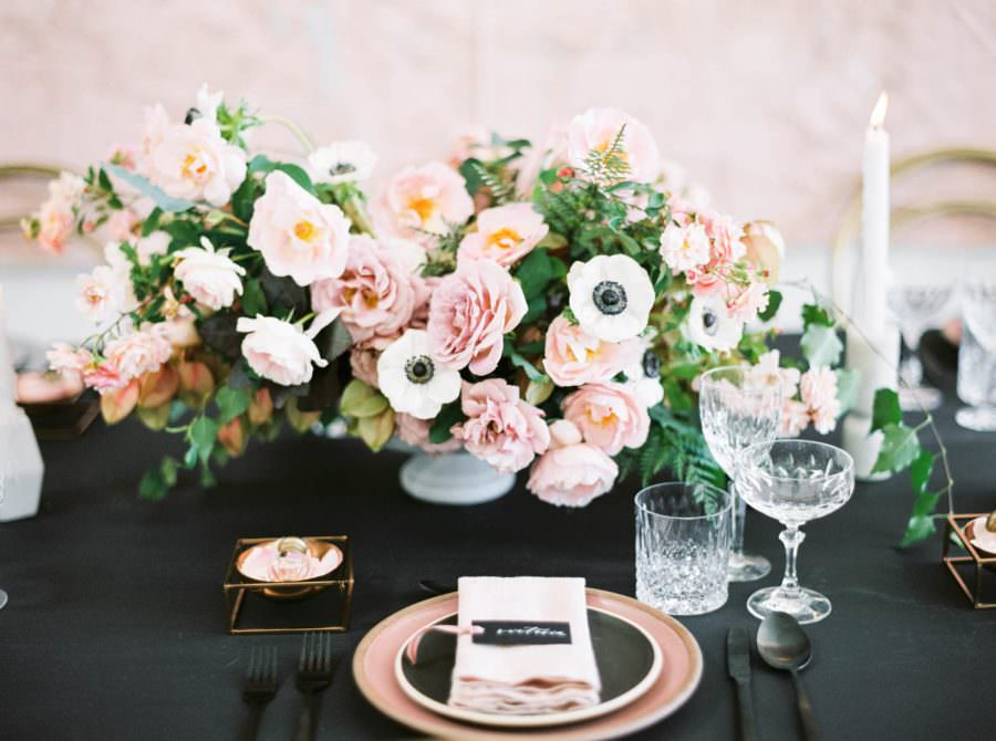 San Diego film wedding photo, Black pink and gold wedding inspiration or rehearsal dinner inspiration, Cavin Elizabeth and Amorology