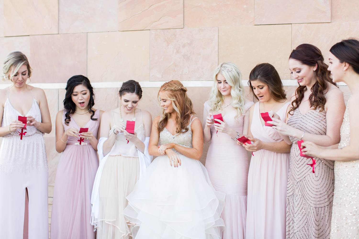 Bride gifting her bridesmaids Rose gold bridesmaids bracelets, Cavin Elizabeth Photography