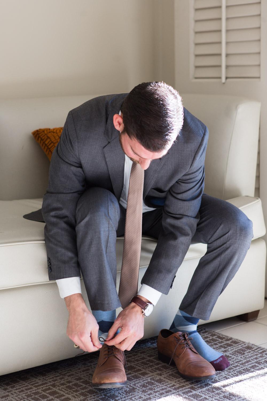 Groom getting ready for Indian Wells Golf wedding, Cavin Elizabeth Photography