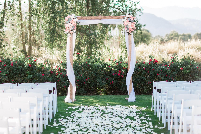 Indian Wells Golf Resort wedding ceremony decor, Cavin Elizabeth Photography