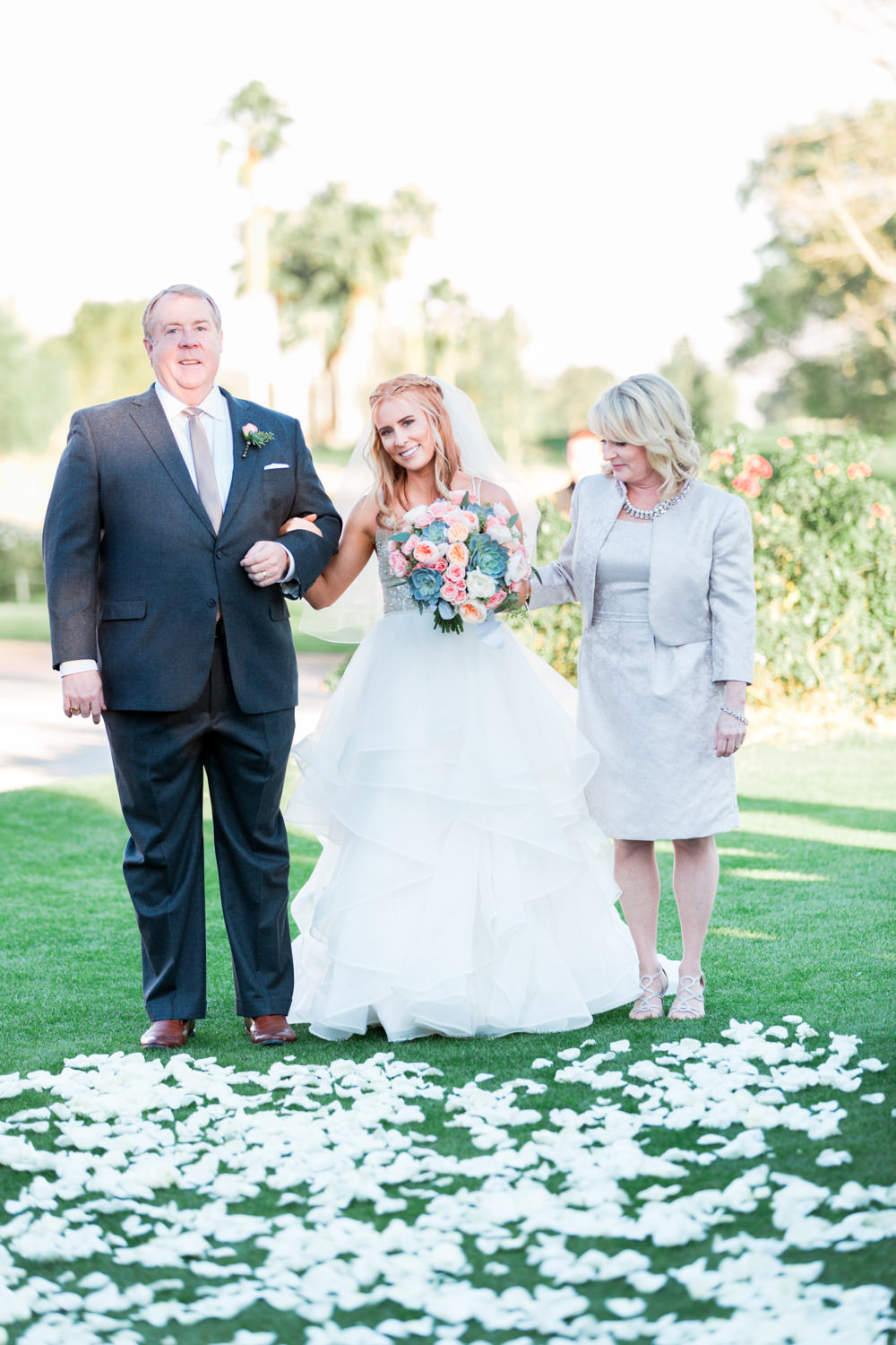 Indian Wells Golf Resort wedding ceremony bride walking parents down the aisle, Cavin Elizabeth Photography