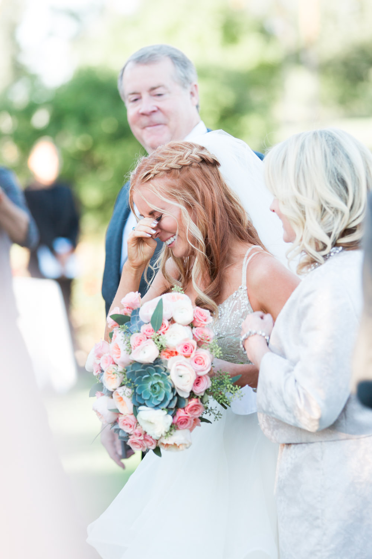 Indian Wells Golf Resort wedding ceremony bride crying, Cavin Elizabeth Photography