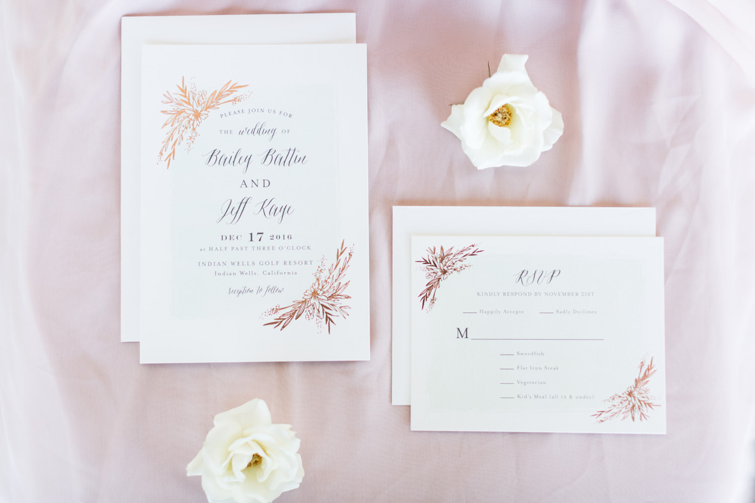 Wedding invitation shute with rose gold foil from Minted, Cavin Elizabeth Photography