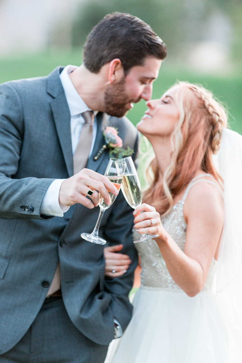 Champagne Indian Wells sunset bride and groom portraits, Cavin Elizabeth Photography
