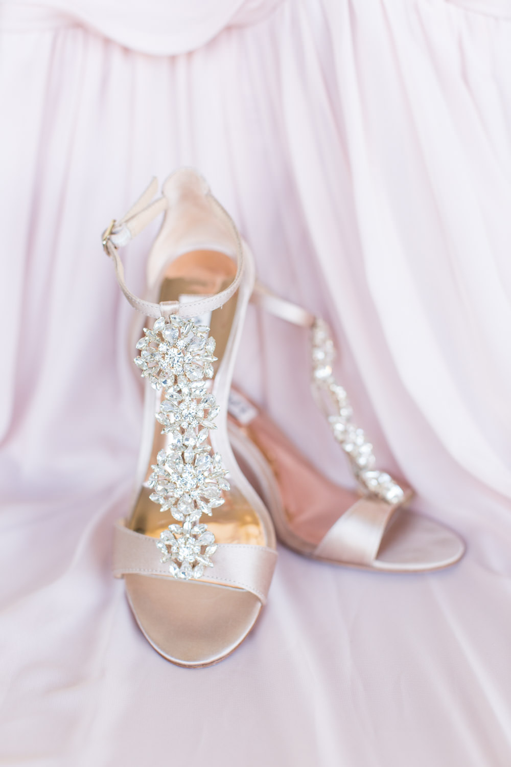 Rose gold wedding wedges with jewels, Cavin Elizabeth Photography
